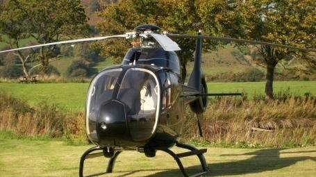 Helicopter landing at exclusive use wedding venue in Yorkshire