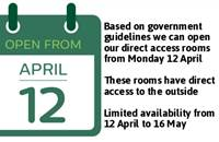 From 12 April - Direct Access Accommodation with Dinner, Bed & Breakfast